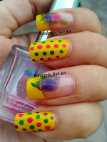 Colorful polka dots with water decals