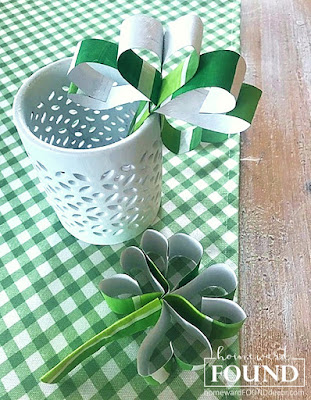 paper crafts, green decor, saint patricks day, march decor, spring decor, DIY, shamrocks, shamrock decor, diy decorating, home decor, paint chips, painting, party decor