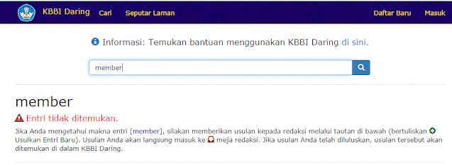 ilustrasi pencarian kata member di KBBI Daring