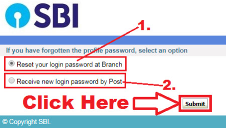 reset sbi online banking password without profile password