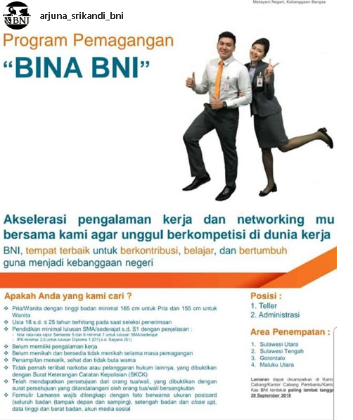 Lowongan Kerja BUMN Bank BNI - SMA/D3/S1