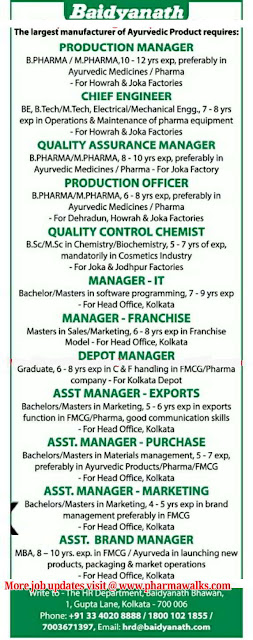 Urgent Multiple Openings in Production | QA | QC | Engineering | IT | Purchase | Exports | Franchise | Marketing @ BAIDYANATH GROUP