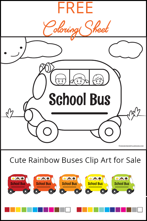Free school bus colouring page for your kids