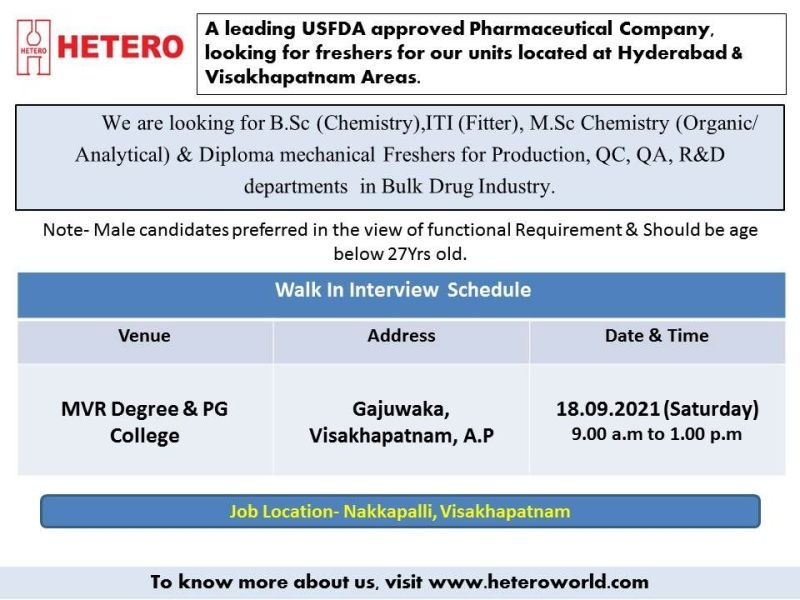 Hetero Labs Limited Recruitment ITI, Diploma, B.Sc Freshers in Production, QC, QA, R and D, Engineering