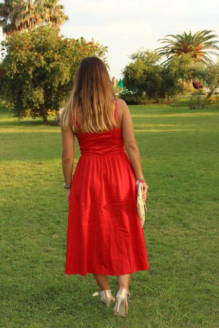 robe rouge maje, look de vacances, glamour, les petites bulles de ma vie