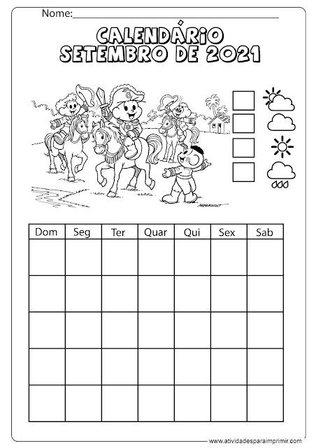 calendário setembro de 2021 para imprimir e colorir