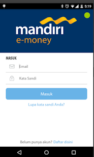 Cara top up via Aplikasi mandiri e-money isi ulang
