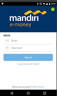 Cara top up via Aplikasi mandiri e-money isi ulang