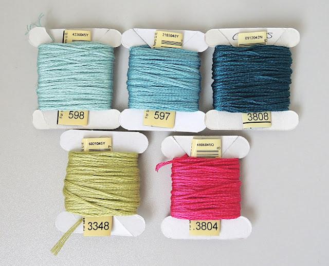 Embroidery Floss DMC 598, 597, 3808, 3348, 3804