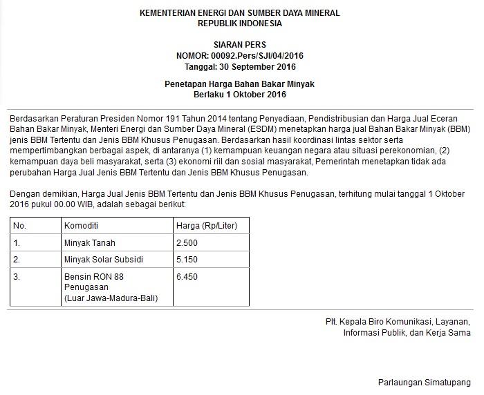 Harga BBM Batal Turun Berikut Keputusan Pemerintah 1 Oktober 2016