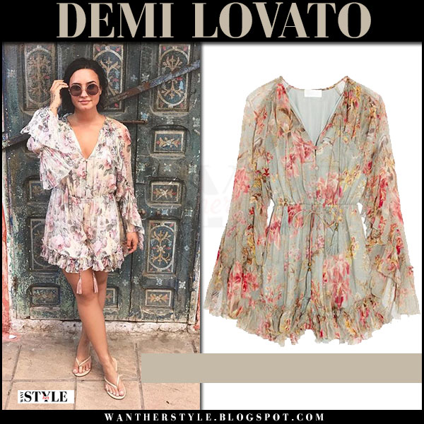 Demi Lovato in floral print playsuit zimmermann mercer and round sunglasses sunday somewhere what she wore may 18 2017