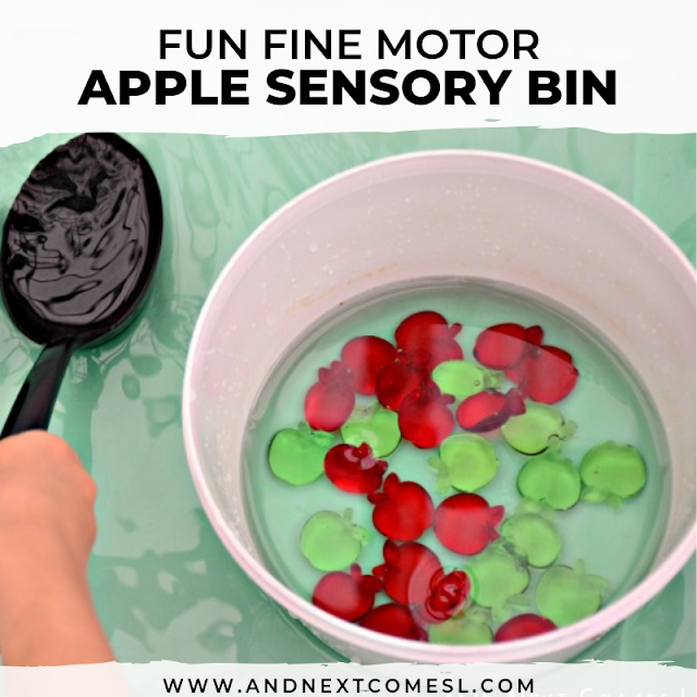 Fun apple sensory bin for toddlers