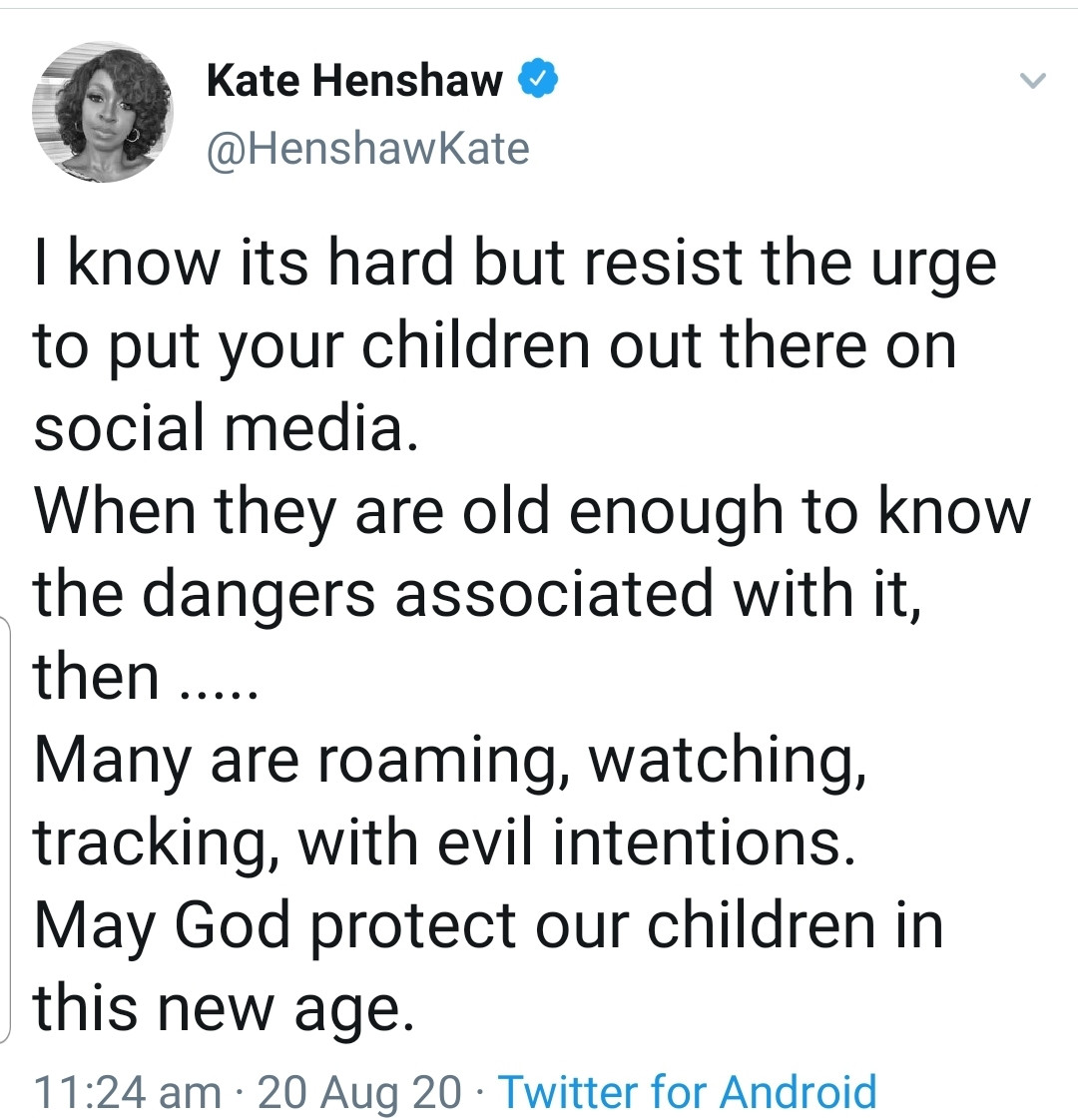 k2 - Cease placing your youngsters on social media, Kate Henshaw cautions dad and mom!
