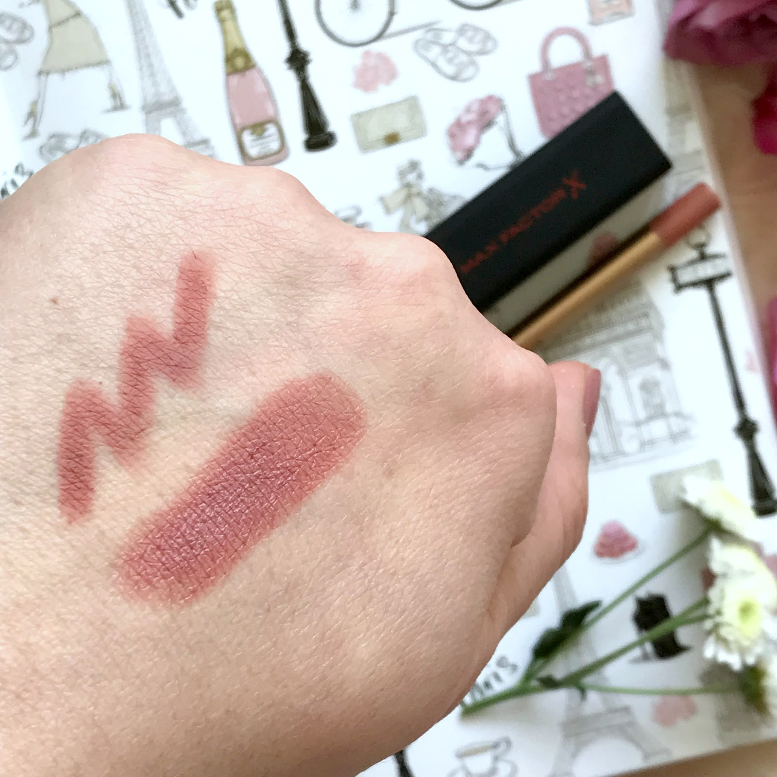 Charlotte Tilbury Pillow Talk Lip Liner, Max Factor Velvet Matt Lipstick in shade Nude