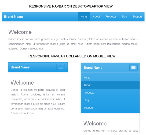 twitter bootstrap custom responsive navigation menu bar