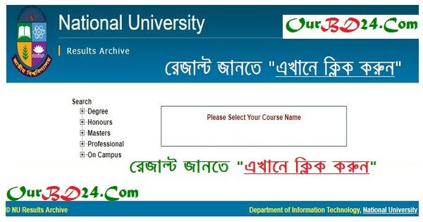 NU Honours 4th year Result National University