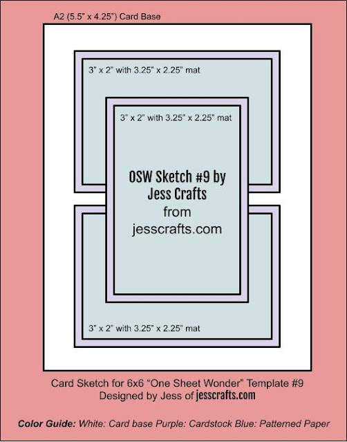 Card Sketch for One Sheet Wonder Template #9 by Jess Crafts