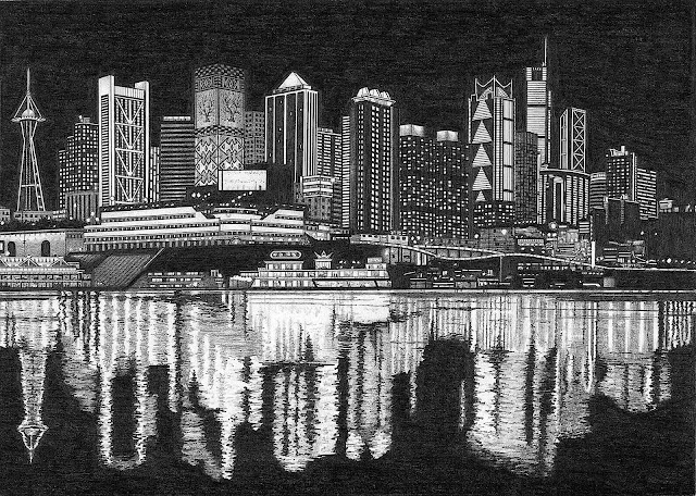 Rik Smits art, a city skyline at night
