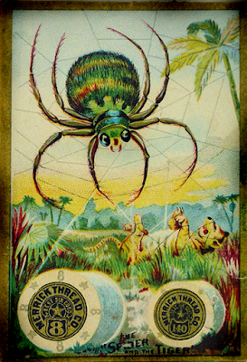 old spider antique trading card sewing