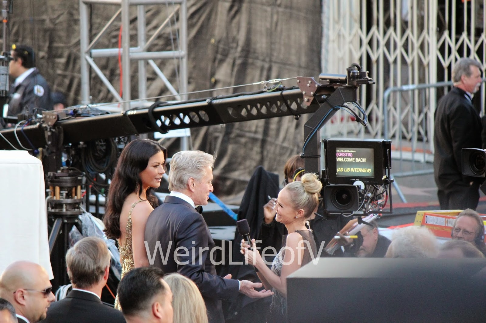 Catherine Zeta-Jones and Michael Douglas being interviewed by Kristin Chenoweth