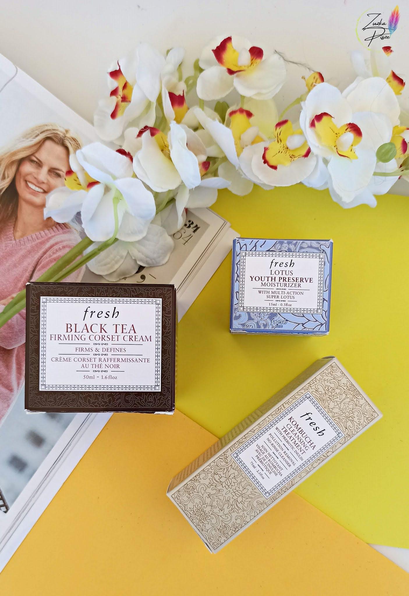 Pielęgnacja twarzy z marką FRESH -  Kombucha Cleansing Treatment, Lotus Youth Preserve Face Cream & Black Tea Firming Corset Cream