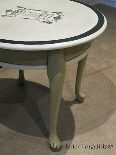 Curbside Queen Anne French Graphic Table with Versailles chalk paint