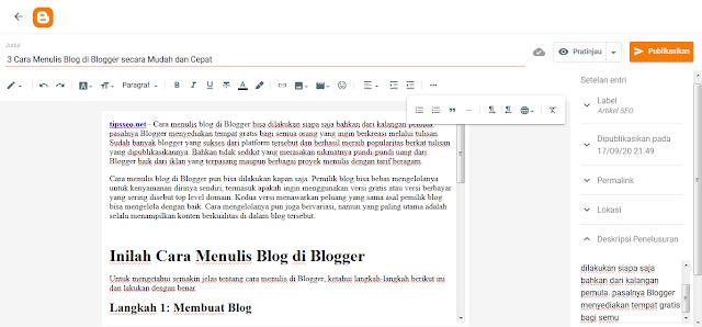 cara menulis blog di blogger