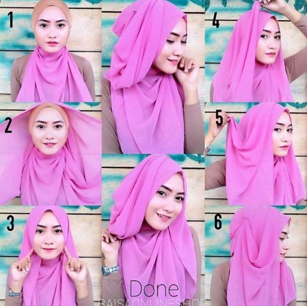 tutorial hijab pashmina katun