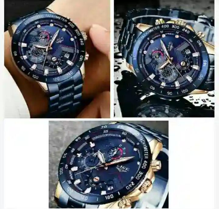 Lige Men's Watch: Waterproof Rose-Gold Blue Stainless-Steel WristWatch