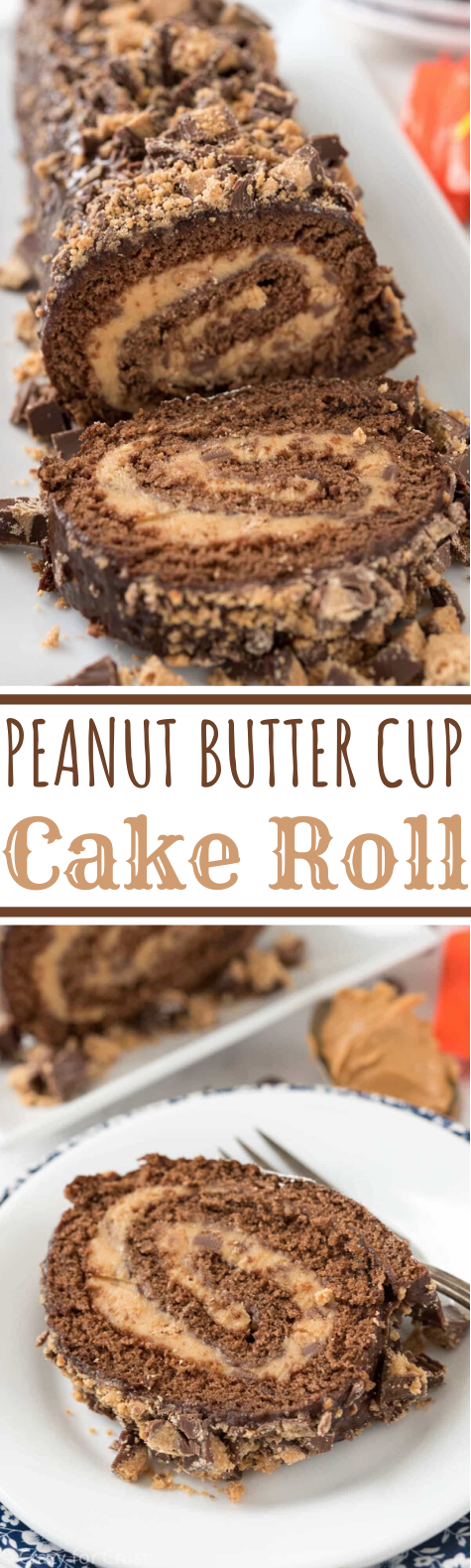 Peanut Butter Cup Cake Roll #cake #desserts #baking #peanutbutter #chocolate