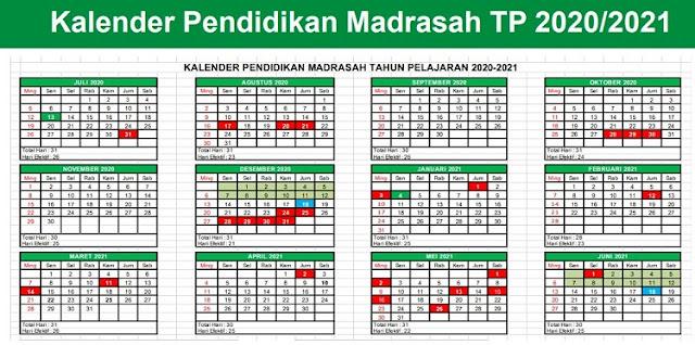 SK DIRJEN PENDIS NO 2491 TAHUN 2020 TENTANG KALENDER PENDIDIKAN MADRASAH TAHUN PELAJARAN 2020/2021