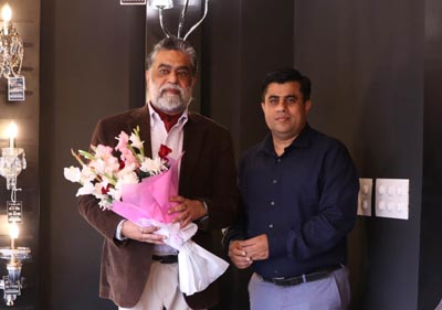 Vikas Gandhi , Senior Vice President – TISVA Lighting at the launch of The TISVA Studio Ludhiana with one of India's leading lighting designer Sarvdeep Basur (founder Lucent worldwide)