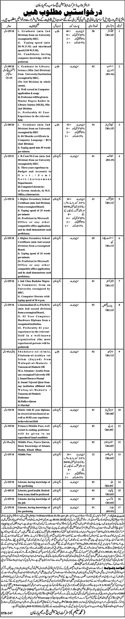 Latest Jobs in Pakistan District and Session Court Rahim Yar Khan Jobs 2021 | Download Application Form