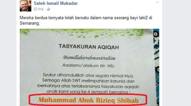 Aneh Tapi Nyata! Nama Bayi yang Menyatukan Ahok dan Rizieq Shihab