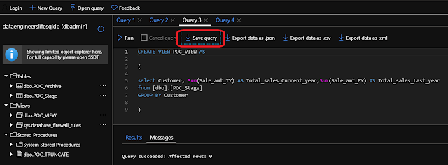 Save query in Azure Query Editor