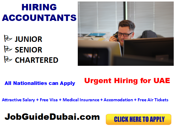 FREE VISA Accountant jobs in Dubai with best and Group companies with attractive salary and benefits for junior, senior and chartered accountants.
