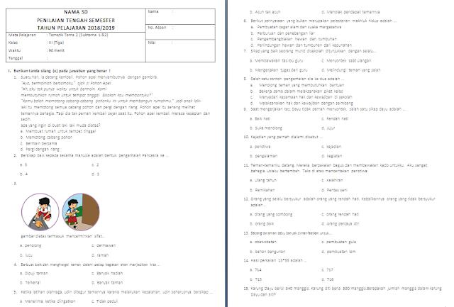 Soal PTS/UTS Kelas 3 SD/MI: Tema 2 Subtema 1-2