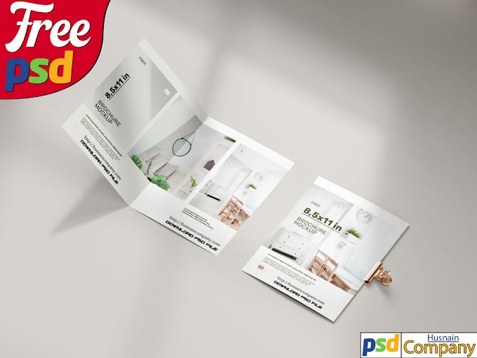 Download Free Folded Brochure PSD Mockup #4