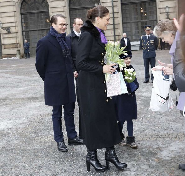 Crown Princess Victoria wore Ida Sjostedt jules coat. Prince Daniel and Princess Estelle attended Princess Victoria's Name Day celebrations