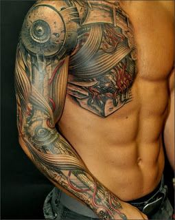 Mechanical tattoo right chest for men