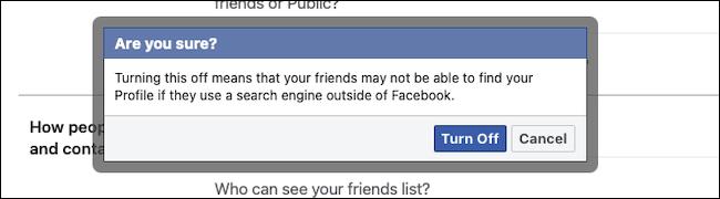 انقر فوق زر إيقاف التشغيل لحظر ربط محرك البحث على Facebook
