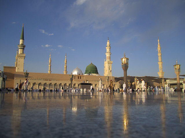 The mosque of the prophet in Medina containing the tomb of Mohammad
