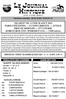 programme quinté Pronostic Lundi 30/08/2021