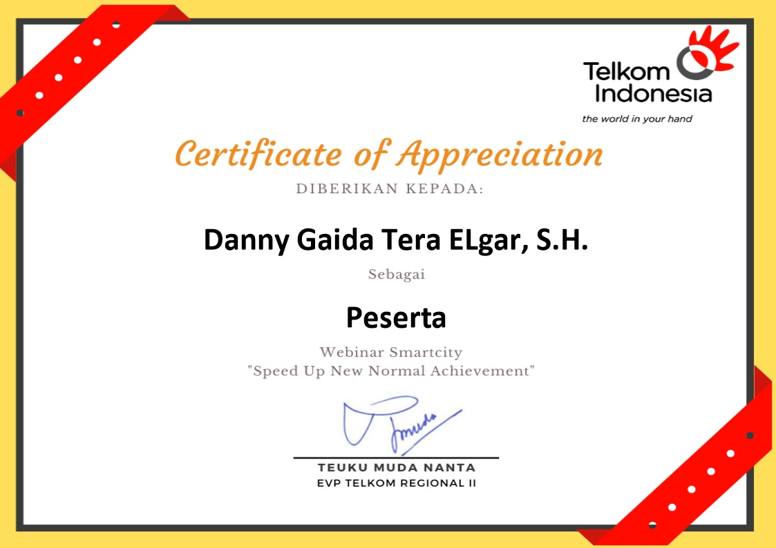 "Sertifikat Penghargaan PT Telekomunikasi Indonesia (Persero) Tbk / Telkom Indonesia | Webinar Smart City ""Speed Up The New Normal Achievement"""
