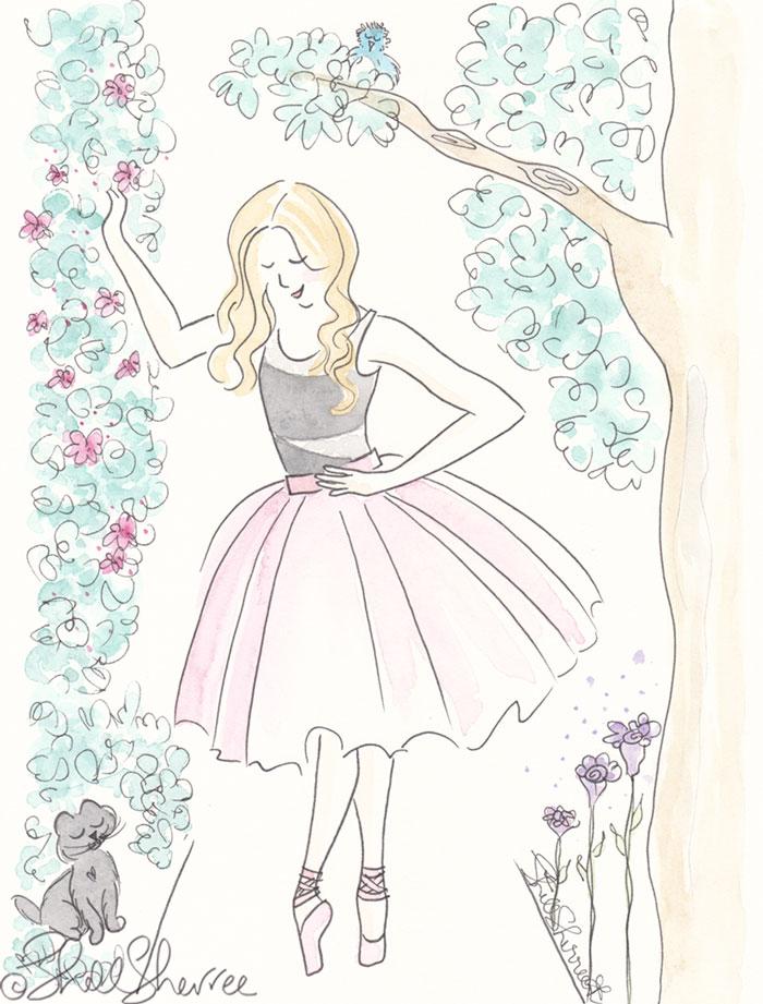 Ballet Fashion & Fluffballs Illustration : Garden Ballet for Tutu © Shell Sherree