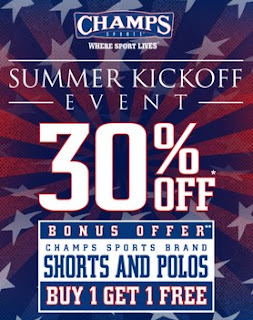 Champs Shoe Store bonus offer buy 1 get 1 free coupons event