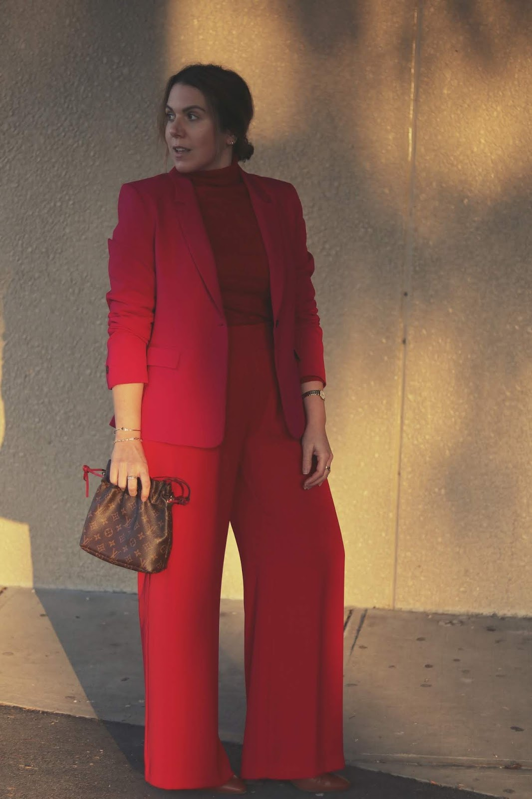 le chateau pink and red suit outfit wide leg suit outfit