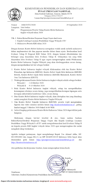 pengumuman hasil evaluasi tahap 2 ii proposal kontes robot indonesia kri tahun 2020 pdf tomatalikuang.com