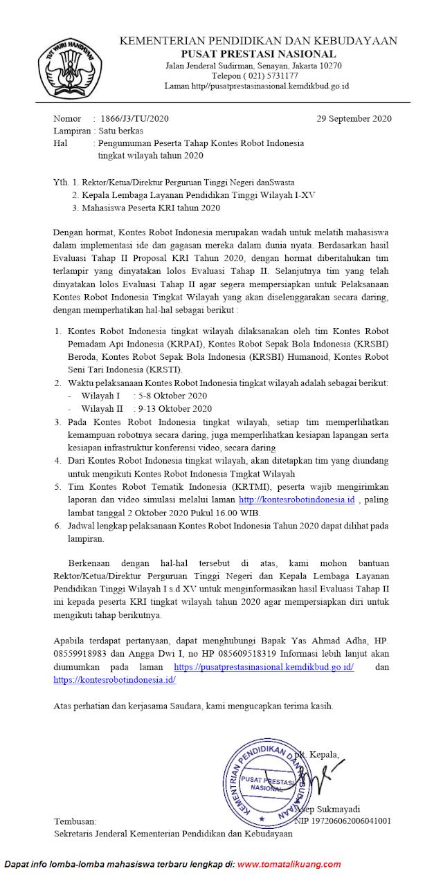 Download Hasil Evaluasi Tahap II Proposal KRI Tahun 2020 PDF