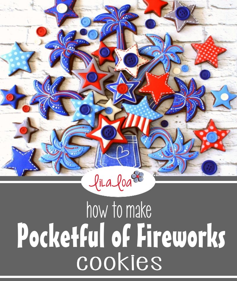 Decorated chocolate sugar cookies in patriotic colors to look like fireworks coming out of a jean pocket
